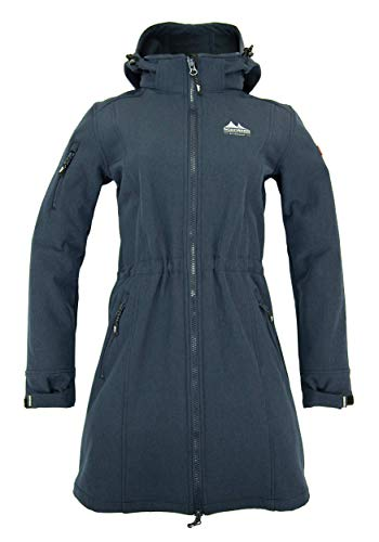 Nordberg Damen Softshell Mantel   Longjacke Gisella in Marineblau mit Abnehmbarer Kapuze und windgeschütztem Reißverschluss