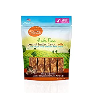 Canine Naturals Natural Peanut Butter Chew – 2.5″ Mini Roll – 6 Pack | 100% Rawhide Free and Collagen Free Dog Treats | Made with Real Peanut Butter | All-Natural and Easily Digestible