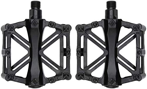 hwljxn 2 stücke Bike Pedale Antiscid Bike Pedals Ultraleichtlegierung Pedal Flat Pedal (schwarz)