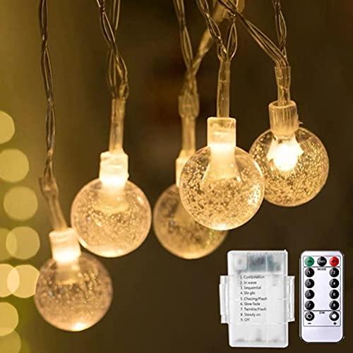 Bozaap Luci a Corda da Giardino, 40 LED Luci a LED alimentate a Batteria, 8 modalità Luci di Fata Sfere di Cristallo Illuminazione Decorativa per casa, Giardino, Festa, Festival