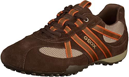 Geox U2207S Snake Sportlicher Herren Sneaker, Schnürhalbschuh, Freizeitschuh, atmungsaktiv, lose Einlegesohle, 45 EU, Braun Braun Beige