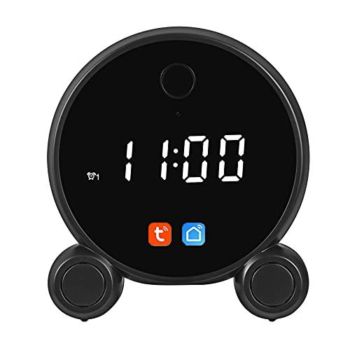 Tuya Smart Life Mini cámara reloj despertador, batería Wifi inalámbrica Digital HD 1080P Grabador de detección de movimiento Videoportero Vigilancia del hogar,Negro,Clock
