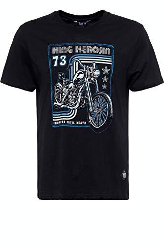 King Kerosin Chopper Until Death Camiseta, Negro, S para Hombre