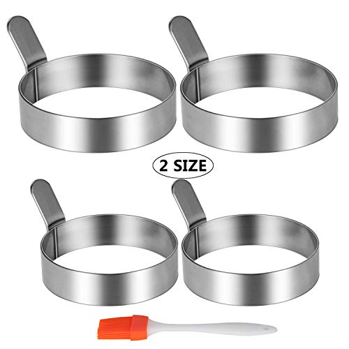 Stainless Steel Egg Frying Ring Non Stick Omelet Mold with Silicone Brush (2 Sizes, 4 Packs)