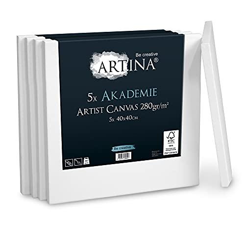 Artina Akademie Leinwand 5er Set 40x40 cm Leinwand auf FSC® Keilrahmen aus 100% Baumwolle auf stabilem Keilrahmen in Akademie Qualität - 280 g/m² zum Bemalen