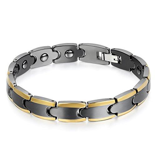 OIDEA Pulsera magnética de cerámica y acero inoxidable para hombre y mujer, con elementos de terapia para artritis, color negro y dorado