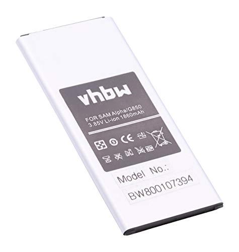 vhbw Batería Compatible con Samsung Galaxy Alpha, Alpha LTE-A, SM-G850, SM-G8508, SM-G8508S móvil, Smartphone (1860mAh, 3,85V, Li-Ion)