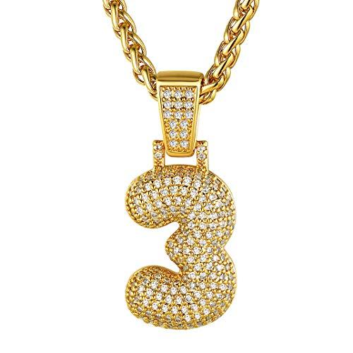 GoldChic Collar Baloncesto Numero 3 eslabones Oro Colgante y Cadena Hombre Jugador Futbol