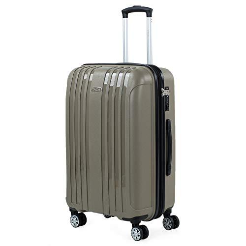ITACA - Uitbreidbare middelgrote koffer voor rigide reizen met 4 dubbele wielen gemaakt van polypropyleen met TSA-slot, lichtgewicht en bestendig 760260, Color Beige