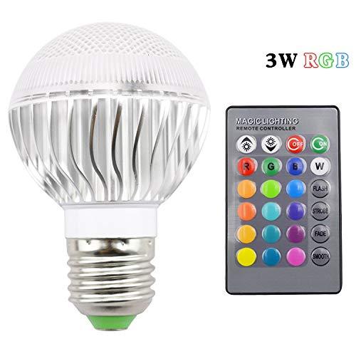 Cicongzai 3W RGB LED-lamp E27 LED-lamp met 24 toetsen afstandsbediening dimmer energiebesparende multicolor wisselschijnwerper vakantie verlichting + afstandsbediening 110V 120V 220V LED