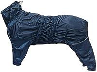 Morezi Manteau de pluie pour chien avec col haut imperméable pour chien réfléchissant 4 pattes vêtements de pluie combinaison pour chiots animaux de petite et moyenne taille – Bleu marine – L