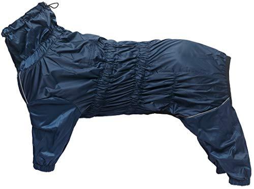 Chubasquero para perros con cuello alto impermeable impermeable para perros reflectante de cuatro patas ropa de lluvia mono para cachorros perro pequeño mediano - azul marino - XXL