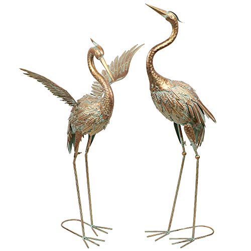 Photo of TERESA'S COLLECTIONS 2Pcs 33.5/39inch Garden Ornament, Metal Crane Bird Garden Statues Decor, Garden Art Sculpture Standing Indoor Outdoor for Backyard Porch Home Patio Lawn Spring Summer Decorations