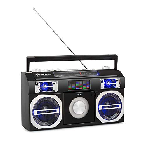 auna Oldschool 80's Reproductor Retro - Bluetooth, Puerto US