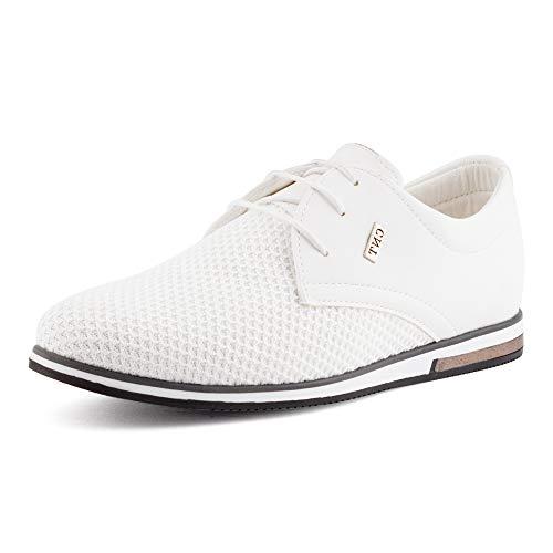 Fusskleidung Herren Business Schnürer Casual Halb Sneaker Schuhe Anzugschuhe Weiß EU 42