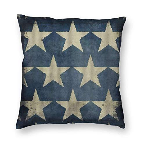 DRXX Star Pillows Antique American Flag Stars Patriotic Memorial Day Fourth of July Blue Beige Copricuscino Decorativo Quadrato Accento Fodera per Cuscino in Velluto 18X18 Pollici per Poltrona