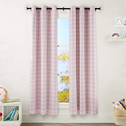 "Amazon Basics Kids Room Darkening Blackout Window Curtain Set with Grommets - 42"" x 84"", Pink Buffalo Plaid"
