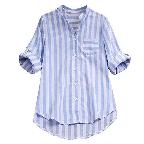 SHOBDW Moda Mujeres a Rayas con Cuello en V Otoño Invierno Camisa de Manga Larga Lino Blusa Suelta Casual Botón Tops Camisa Formal para Mujer (Azul,XL)