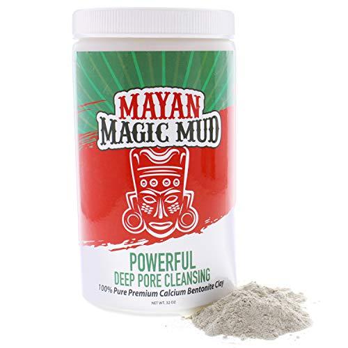 Mayan Magic Mud, 100 Pure Premium Calcium Bentonite Healing Clay Powerful Deep Pore Cleansing Facial Body Mask Treats Acne Breakouts Blackheads Oily Skin Oz, 32 Ounce