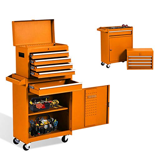 5-Drawer Tool Chest Tool Box,Rooling Tool Chest with Wheels,Tool Cabinet with Lock,4 Movable Rollers Tool Chest with 5 Drawers,Large Capacity Tool Storage for Garage, Warehouse. (5 Drawers-Orange)