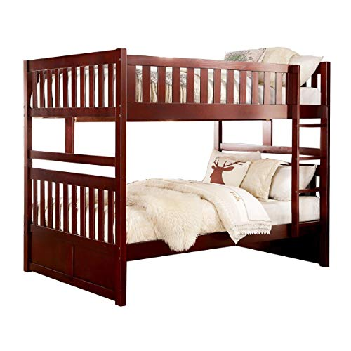 Homelegance Rowe Full/Full Bunk Bed in Dark Cherry