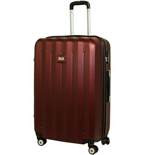 QTC DENVER 2 Hartschalen Reisekoffer L / 67cm / Handgepäck Reisetasche Reise Koffer (Braun-Rot)