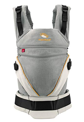 manduca XT Mochila Portabebe > Cotton grey/orange < Porta Bebé Ergonómica, Asiento Regulable en Continu, 3 Posiciones, Algodón Orgánico, se Adapta a Recién Nacidos y Niños Pequeños (3,5-20kg)