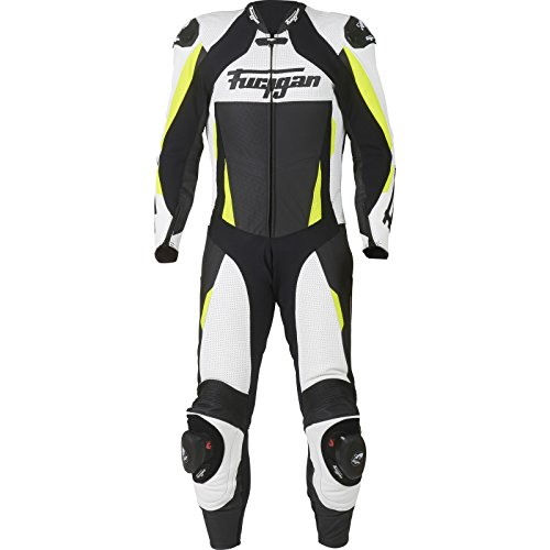 6534-253 Furygan Full Apex Perforated One Piece Motorcycle Suit 38 Black White Yellow