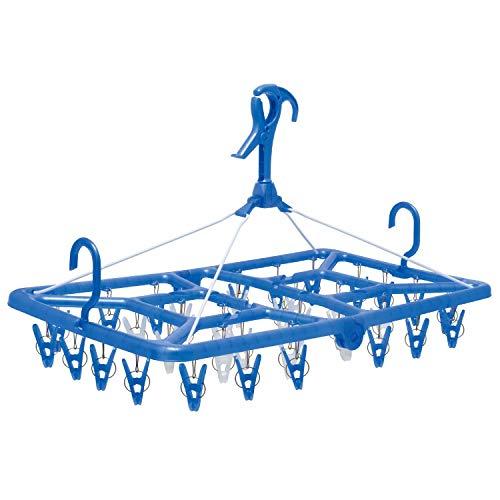 オーエ 洗濯 物干し ハンガー ブルー 36ピンチ ベランダ用 目隠しハンガー 角ハンガー 金属製吊り紐 ピンチ 取り替え 簡単
