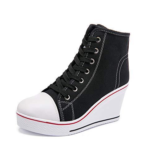 Mujer Cuñas Zapatos 35-43 EU De Lona High-Top Zapatos Casuales Talla Grande Zapatillas de Cuña para Mujer Zapatillas de Deporte Zapatillas Altas Primavera/Verano Tacón Cuña