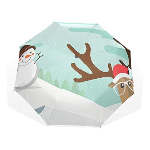 Trushop Reindeer Red Nose and Snowman Windproof Travel Umbrella Compact Folding Umbrella