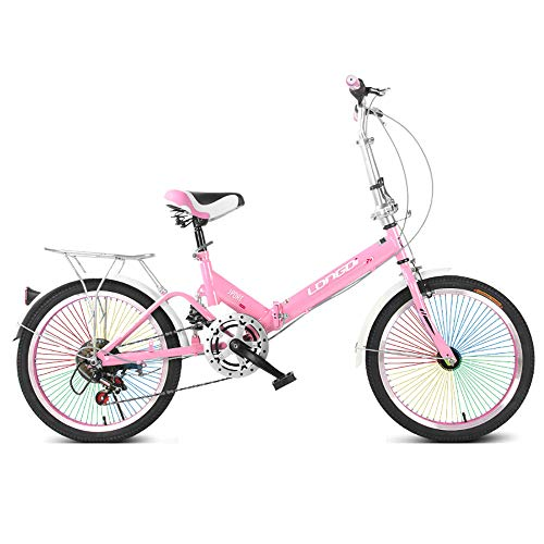 ZHIPENG Adults Commuter Bicycle, Women Light Weight Bike High-Carbon Steel Single Speed Reinforced Frame Commuter Bicycle,Pink
