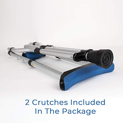 Carex Folding Crutches - Folding Aluminum Underarm Crutches - Lightweight, Great for Travel or Work, 2 Crutches Included, for 4'11 to 6'4 People
