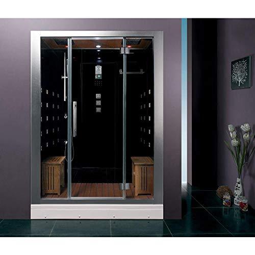 ARIEL Platinum DZ972-1F8-BLK Steam Sauna Shower