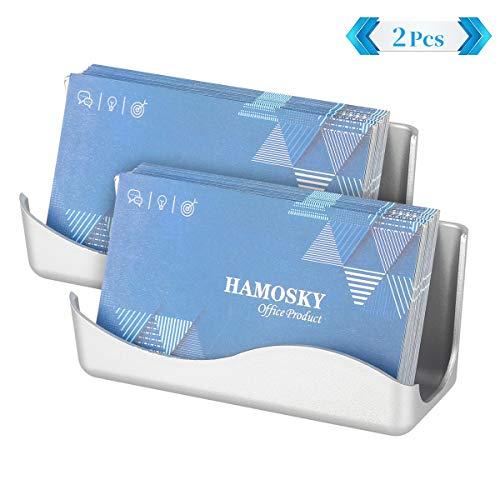 Hamosky Business Card Holder Box Visitenkartenbox Visitenkarten-Karte Business Card Card Organizer,Kartengröße:11x4.8x3.9cm,Silberfarben