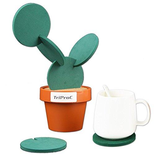 TriPro Original Coasters Set of 6 Pieces with Creative Cactus Shaped...
