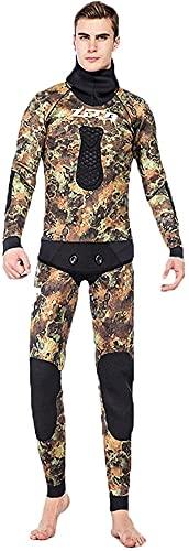 Wetsuit Moda 5mm Set Neopreno Hombres Buceo Traje Capucha Chaqueta y Pantalones Frío-Prueba Snorkeling Surfing, Coral Camouflage, S