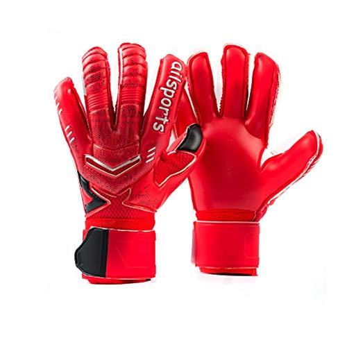 Coodoo Goalie Goalkeeper Gloves with Pro Fingersaves, Strong Grip for The Toughest Saves, Protection to Prevent Injuries, Fit Match Training, Adult, Youth,Size 5-11 (Black & Red, 9)