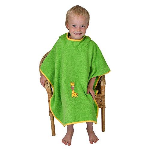 Mauz by wörner bébé girafe kiwi «bavoirs, serviettes de bain et gant de bain poncho, vert, Badeponcho 120x75 cm