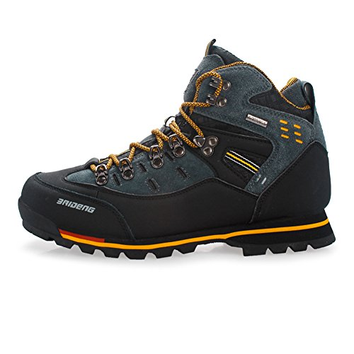 Gomnear de los Hombres Botas de montaña Alta Subida Trekking Zapatos Antideslizante Respirable Impermeable para Caminar Alpinismo (UK8/EU43, Amarillo Negro)