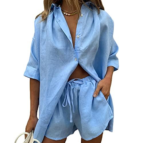 Pabuyafa Conjunto de 2 piezas de ropa casual de verano para mujer, de algodón de lino y manga corta, blusas de cuello en V con puños Y2K Streetwear, azul, M