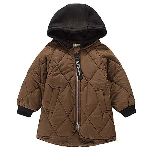 AMIYAN Junge Mädchen Dauenmantel Winter Mantel Dicke Warm Winterjacke Reißverschluss Kapuzenjacke Outfit 3-9 Jahre, Kaffee, 120