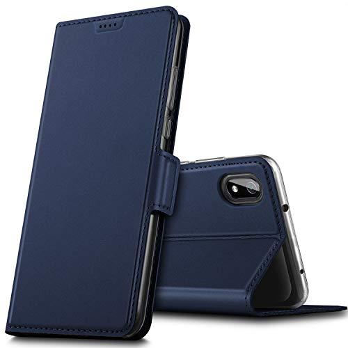 GEEMAI für Xiaomi Redmi 7A Hülle, handyhüllen Flip Hülle Wallet Stylish mit Standfunktion & Magnetisch PU Tasche Schutzhülle passt für Xiaomi Redmi 7A Phone, Blau