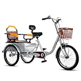 OHHG Triciclo Adultos Asiento Respaldo Ajustable Bicicleta Tres Ruedas Cesta Carga Triciclo Bicicleta Bicicleta Compras Picnic Deportes al Aire Libre Hombres Mujeres