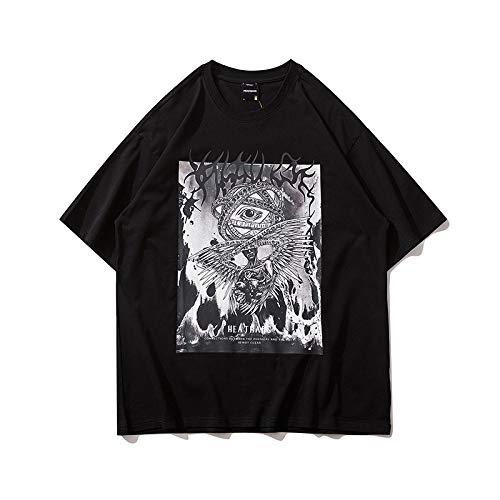 DREAMING-Una Sudadera De Verano De Manga Corta con Una Camiseta Suelta De Algodón De Cuello Redondo Estampada para Hombres Y Mujeres XL