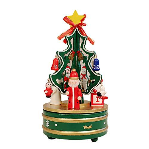 XdiseD9Xsmao Carillon Rotante Per Albero Di Natale In Legno Leggero Durevole Carillon Per Bambini Giocattolo Per Bambini Festival Regalo Decorazioni Per La Tavola Di Casa Per Feste Di Natale Verde