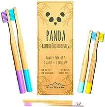 Panda cepillos de dientes | cepillos de dientes de bambú natural biodegradable | hermoso + ecológico | cerdas de dureza media | varios colores paquete familiar 2 adultos + 3 niños