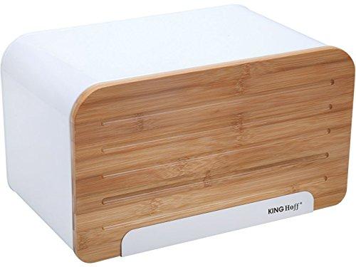 Elegant Trendiger Brotkasten mit Holzabdeckung (Schneidebrett) (Weiß)