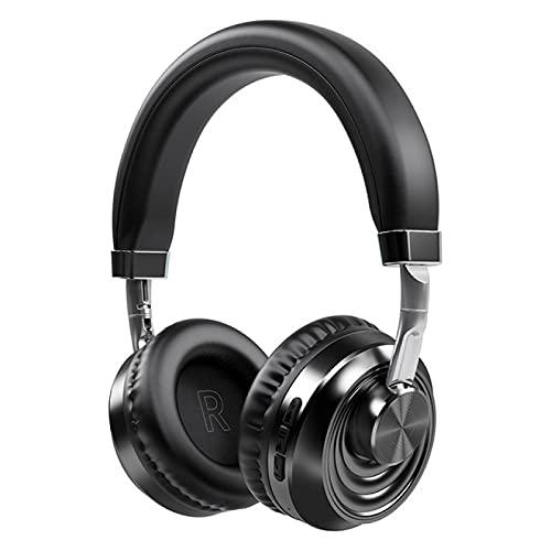 Oqqo Auriculares inalámbricos Bluetooth 5.0 Auriculares con micrófono Tarjeta FM SD Auriculares estéreo para Juegos HiFi para teléfono Pc Laptop Mp3 TV Black