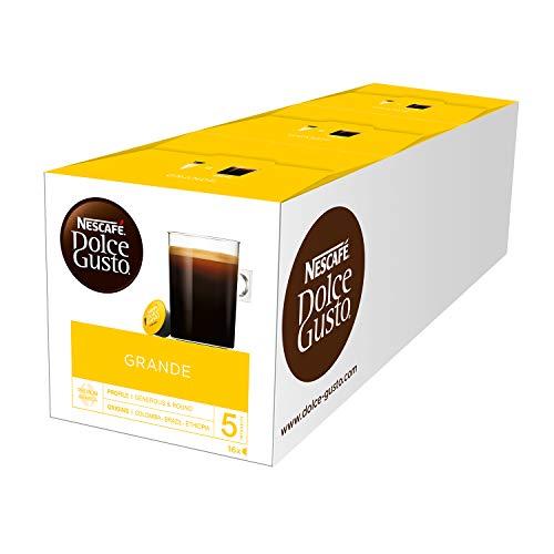 NESCAFÉ Dolce Gusto Grande Kaffee | 48 Kaffeekapseln | 100{af71bcf5cd88dceb974801840a041a1a4bf51da06265aabffca942266868e96a} Arabica Bohnen | Feine Crema und kräftiges Aroma  | Schnelle Zubereitung | Aromaversiegelte  Kapseln | 3er Pack (3 x 16 Kapseln)